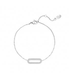 Zilverkleurige armband met rechthoekige hanger met zirkoonsteentjes