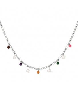 Zilverkleurige halsketting met gekleurde bedels
