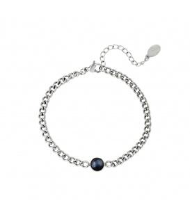 Zilverkleurige armband met dikke ketting en zwarte steen