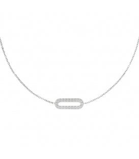 Zilverkleurige halsketting met rechthoekige hanger met zirkoonsteentjes