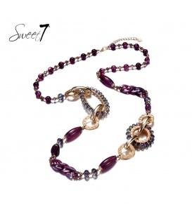 Paarse lange kralen halsketting met mooie elementen