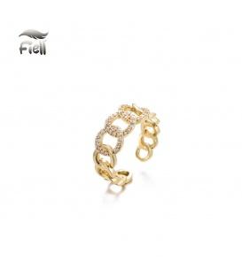 Goudkleurige ring van schakels en strass steentjes