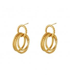 Goudkleurige oorbellen met drie ringen