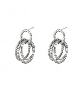 Zilverkleurige oorbellen met drie ringen
