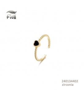 Goudkleurige gedraaide ring met een zwart hartje