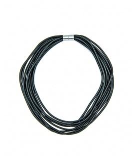Zwarte rubber koord halsketting met magneetsluiting