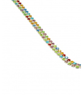 Mooie vrolijk twee strengs strass steentjes halsketting