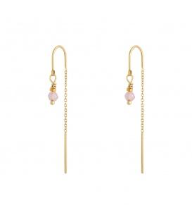 Goudkleurige oorbellen met een hangende ketting en paars steentje