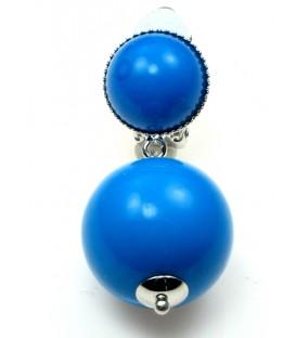 Oorclips met blauwe bolvormige hanger