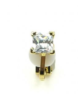 Goudkleurige oorclips met heldere kubic zirconia steen (0,6 cm)