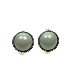 Grijze ronde oorclips met zilverkleurige rand