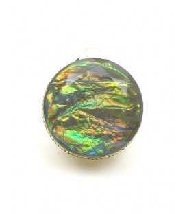 Mooie iriserende ronde oorclips in goudkleurige zetting