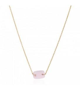 Goudkleurige halsketting met roze bedel