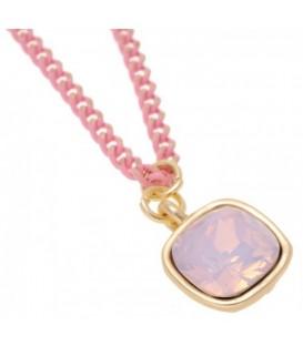 Halsketting met roze jasseron en glanzend gouden accenten