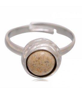 Mooie zilverkleurige ring met bruine steen (18 mm, flexibel)