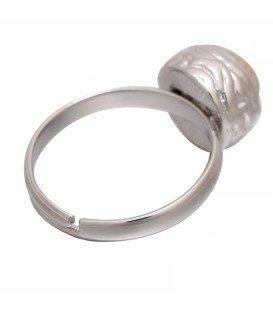Mooie zilverkleurige ring met bruine steen (17 mm, flexibel)