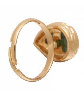 Goudkleurige ring met blauwe druppel steen