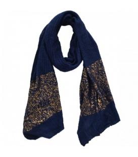 Blauwe sjaal met goudglans