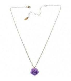 Goudkleurige halsketting met paarse roos hanger