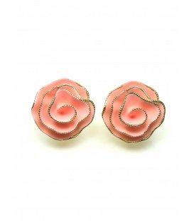 Roze bloem oorclips