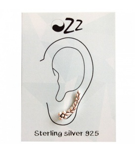 Mooie earline met bladpatroon in sterling zilver (925)