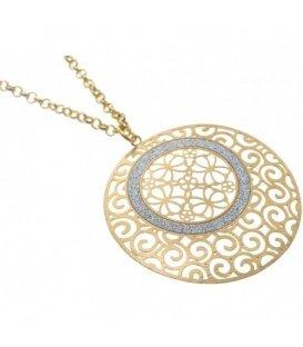 Goudkleurige halsketting met dunne ronde metalen goudkleurige hanger