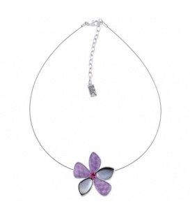 Mooie koord halsketting met paarse bloem