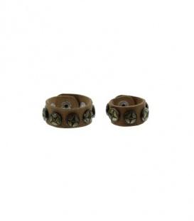 Mooie bruine scarvelets / sjaal riempjes met metalen bronskleurige studs
