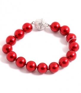 Rode kunstparel armband met magneet sluiting