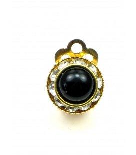 Goudkleurige ronde oorclip met strass rand en zwart hart
