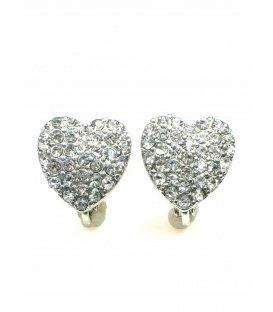 Oorclips in hartvorm met heldere strass steentjes