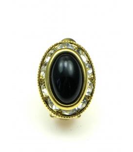 Ovale oorclips met zwart hart en strass steentjes rand