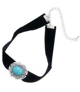 Zwarte choker met blauwe turquoise steen