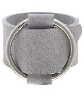 Grijze brede armband met gesp