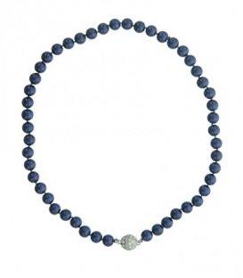 Donker blauwe korte parel halsketting met magneet sluiting