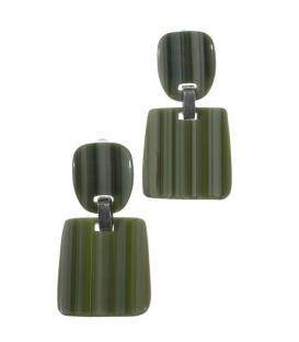 Groene gestreepte oorclips met vierkante hanger