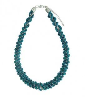 Mooie blauwe korte halsketting met Pailletjes