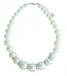 Korte witte kralen halsketting met metalen accenten