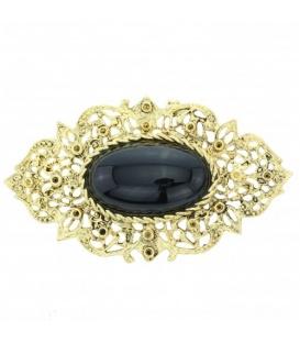 Metalen ovale goudkleurige broche met zwart steen