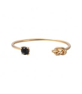 Trendy zwarte gold plated armband met knoop en steen