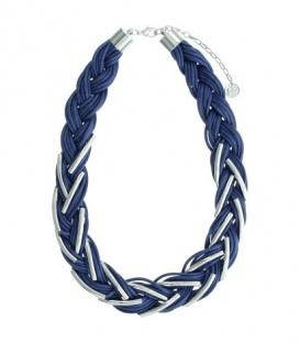 Donkerblauwe korte koord halsketting met metalen elementen