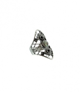 Zilverkleurige ring met 3 stenen (18mm)