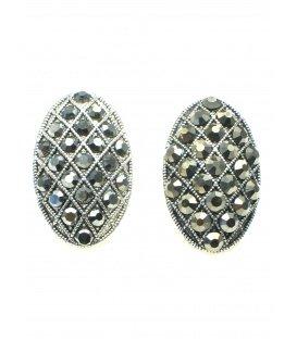 Mooie ovale zilverkleurige oorclips met antracietkleur strass steentjes