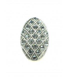 Mooie ovale zilverkleurige oorclips met grijze strass steentjes