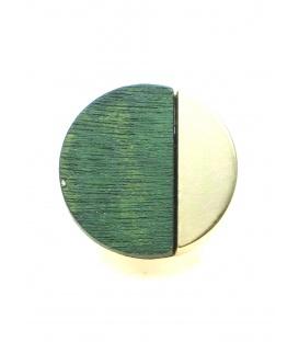 Mooie ronde goudkleurige oorclips met groene houten inleg. Diameter van de clip oorbel is 2,5 cm.