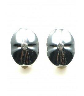 Zilverkleurige ovale oorclips met stras steentje