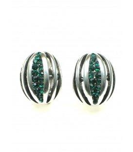 Zilverkleurige oorclips met groene strass