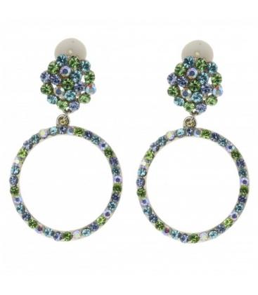 Licht blauw groene oorclips en strasssteentjes