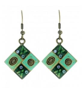 Turquoise oorbellen met opdruk