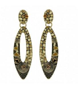 Antiek goudkleurige oorbellen met mooie ovale hanger